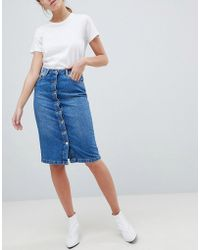 Miss Selfridge - Button Through Midi Skirt - Lyst