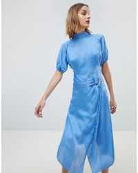 Lost Ink - Midi Dress With High Neck And Ring Belt In Satin - Lyst