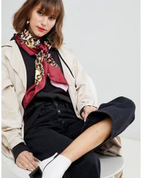 ASOS - Large Square Polysatin Headscarf/neckscarf In Leopard Print - Lyst