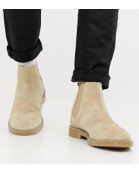 Pull&Bear - Suede Chelsea Boots In Sand - Lyst