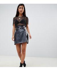 ASOS Asos Design Petite Leather Look A-line Mini Skirt With Asymmetric Belt