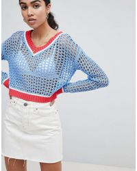 Glamorous - Cricket Jumper With Contrast Trims In Loose Knit - Lyst