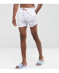 ASOS - Tall Swim Shorts In Marble Print With Orange Drawcord In Short Length - Lyst