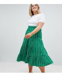 ASOS - Asos Design Curve Tiered Cotton Midi Skirt In Green Stripe - Lyst