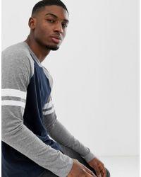 Esprit - Long Sleeve Raglan With Contrast Stripe In Grey - Lyst