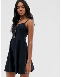 8ee0ed8b7f02 ASOS Asos Design Petite Mini Square Neck Skater Dress in Black - Lyst