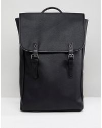 ASOS | Backpack In Faux Leather With Double Straps | Lyst