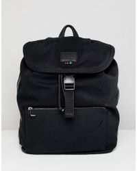 PS by Paul Smith - Washed Canvas Backpack In Black - Lyst