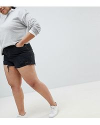 ASOS - Asos Design Curve Denim Short With Raw Hem In Washed Black With Rips - Lyst