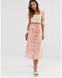 Stradivarius Gingham Rustic Skirt In Pink