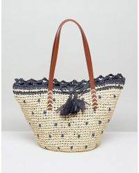 Vincent Pradier - Natural And Navy Spotted Straw Tote - Lyst