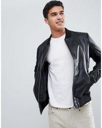 Barneys Originals - Veste texture en cuir vritable - Lyst