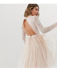 Needle & Thread - Embellished Long Sleeve Midi Dress With Tulle Skirt In Rose Quartz - Lyst