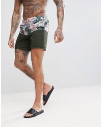 ASOS - Swim Short In Cut And Sew Floral Mid Length - Lyst