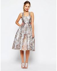 d978f2e475 ASOS Salon Sequin Mesh Fit And Flare Midi Dress in Pink - Lyst