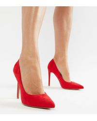 ASOS - Paris Pointed High Heeled Court Shoes In Red - Lyst