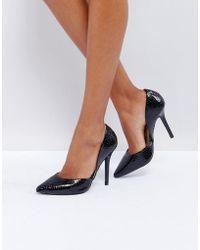 Glamorous - Black Snake Heeled Court Shoes - Lyst