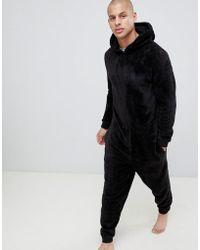 ASOS - Hooded Onesie In Fluffy Black Fabric - Lyst