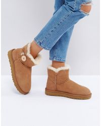 UGG - Mini Bailey Button Ii Chestnut Boots - Lyst