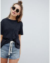 Pull&Bear - Pocket T Shirt In Washed Black - Lyst