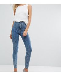 ASOS - Rivington High Waist Denim Jeggings In Rumer Midwash Blue - Lyst