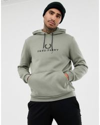Fred Perry - Sports Authentic 90s Embroidered Logo Hoodie In Pale Khaki - Lyst