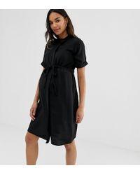 New Look Drawstring Waist Shirt Dress In Black