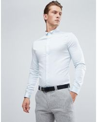 ASOS - Wedding Skinny Sateen Shirt In Blue With Wing Collar And Double Cuff - Lyst