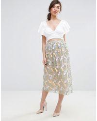 True Violet - Floral Embroidered Midi Skirt - Lyst
