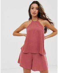 8995b21c0a ASOS - Halter Double Layer Playsuit With Tie Back - Lyst