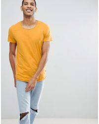 Jack & Jones - Essentials Longline T-shirt With Raw Neck - Lyst