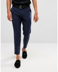 ASOS - Skinny Cropped Smart Trousers In Navy - Lyst