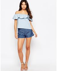 Sugarhill - Denim Shorts With Bow Detail - Lyst