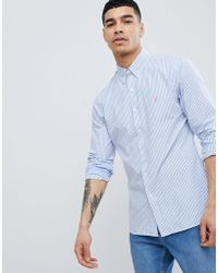 Polo Ralph Lauren - Slim Fit Stripe Poplin Shirt Button Down Collar Polo Player In Blue - Lyst