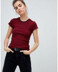 Volcom - Stripe Short Sleeve T Shirt In Red - Lyst