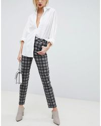 ASOS - Farleigh High Waist Slim Mom Jeans In Mono Check - Lyst