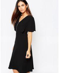 Warehouse - Embellished Trim A Line Dress - Lyst