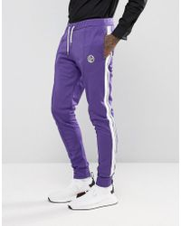 Jaded London - Skinny Track Joggers In Purple With Taping - Lyst