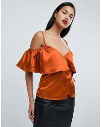Fashion Union - Satin Cold Shoulder Cami Wrap Top - Lyst