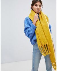 Oasis - Knitted Scarf With Tassels In Yellow - Lyst