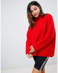 Bershka - Chunky Ribbed Knit Roll Neck Jumper - Lyst