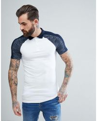 ASOS - Design Muscle Polo Shirt With Interest Fabric Shoulder Panels In Navy - Lyst