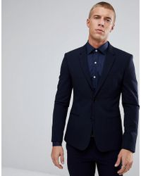 River Island - Super Skinny Suit Jacket In Navy - Lyst