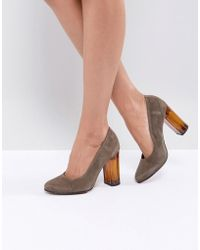 SELECTED - Suede Shoe With Chunky Heel - Lyst