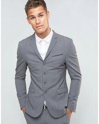 ASOS Chaqueta de traje superajustada con cuatro botones en gris