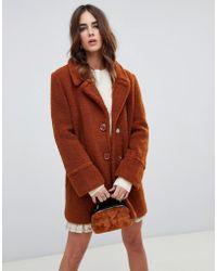 Fashion Union - Single Breasted Coat In Teddy - Lyst
