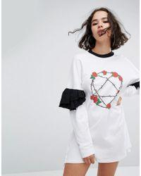 The Ragged Priest - Heartagram Frill Sleeve Dress - Lyst