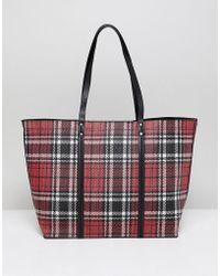 New Look - Plaid Tote Bag - Lyst