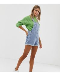 Bershka - Dungaree Short In Light Blue - Lyst