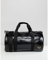 Fred Perry - Classic Barrel Bag In Black - Lyst